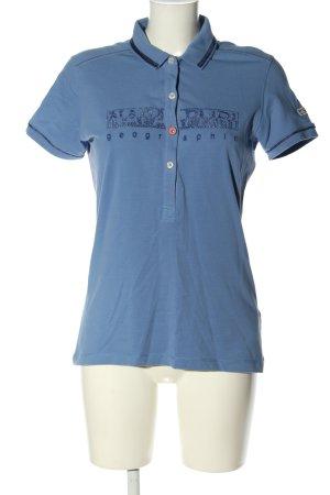 Napapijri Polo-Shirt blau Schriftzug gedruckt Casual-Look
