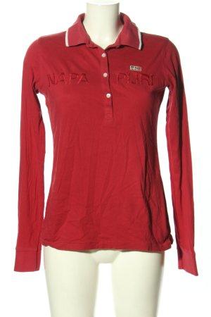 Napapijri Polo-Shirt rot Schriftzug gestickt Casual-Look