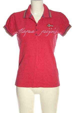 Napapijri Polo-Shirt pink-weiß Schriftzug gestickt Casual-Look