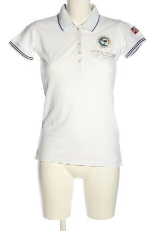 Napapijri Polo-Shirt weiß-blau Streifenmuster Casual-Look
