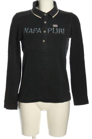 Napapijri Polo-Shirt schwarz-wollweiß Schriftzug gestickt Casual-Look