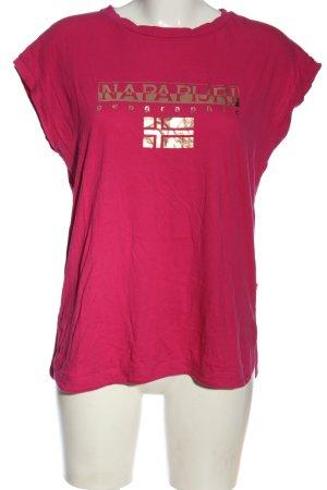 Napapijri Camiseta estampada rosa letras impresas look casual