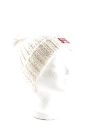 Napapijri Gorro con borla blanco puro punto trenzado look casual