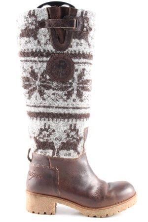 Napapijri Bottes à l'écuyère brun-blanc motif graphique style décontracté
