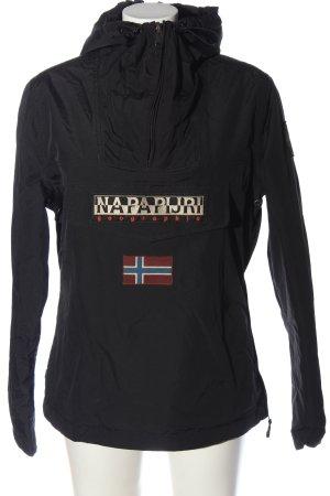 Napapijri Chaqueta deportiva negro-blanco puro letras impresas estilo deportivo