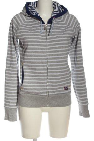 Napapijri Veste sweat gris clair-blanc motif rayé style décontracté