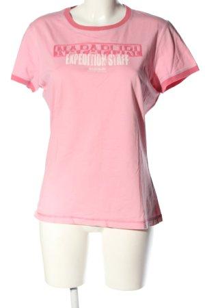 Napapijri T-Shirt pink-weiß Schriftzug gedruckt Casual-Look