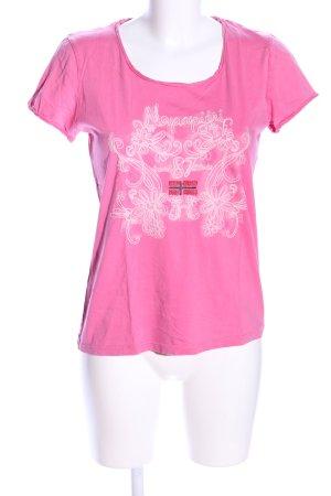 Napapijri T-Shirt pink-weiß Motivdruck Casual-Look