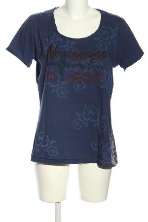 Napapijri T-Shirt blau Blumenmuster Casual-Look