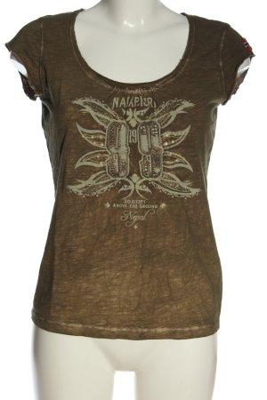 Napapijri T-Shirt brown printed lettering casual look