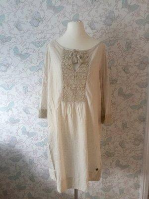 Napapijri Tunika-Kleid mit Häkelspitze, Creme, Gr. XL Neu