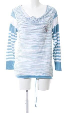 Napapijri U-Boot-Shirt weiß-blau Streifenmuster Casual-Look