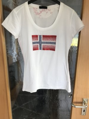 Napapijri wollweißes T-Shirt mit Flagge Gr 36