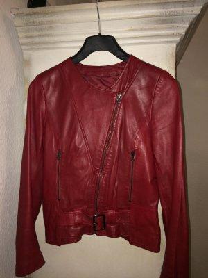 Veste motard rouge foncé cuir