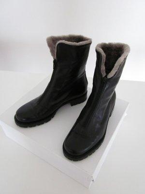 Futrzane buty czarny Skóra