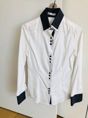 Naracamice Hemd mit doppeltem Kragen Gr S / Grau & Weiß