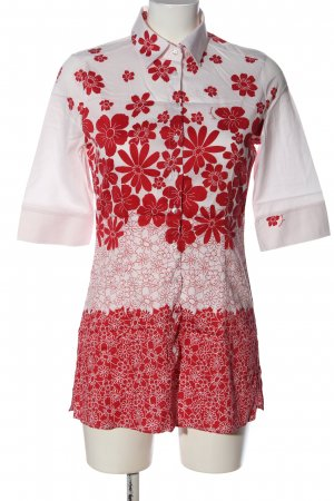 Naracamicie Long-Bluse weiß-rot Allover-Druck klassischer Stil