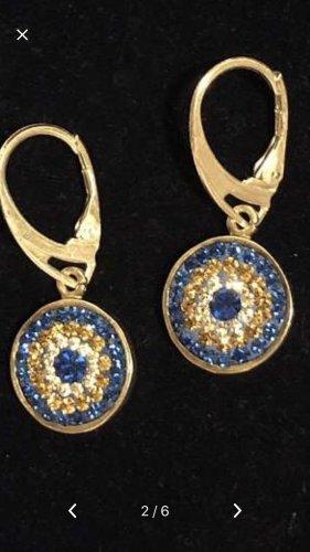 Zilveren oorbellen zilver-blauw