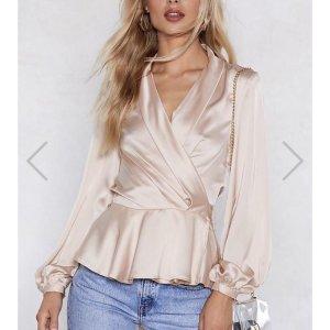 Nasty Gal Satin Bluse Wickelbluse pastel rosé Gr. S neu Trend Blogger