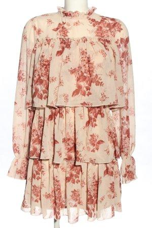 Nasty Gal Flounce Dress cream-pink allover print casual look