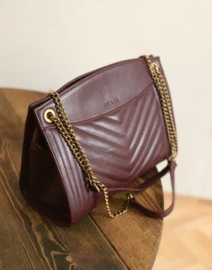 Nat & Nin Echtleder Handtasche Tasche Vintage Look weinrot Bordeaux