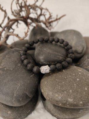 Natürliche Lava Stein Armband mit Buddha Kopf anhänger