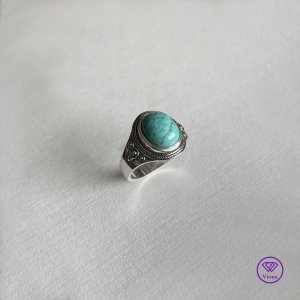 Viona Anello d'argento argento-blu neon