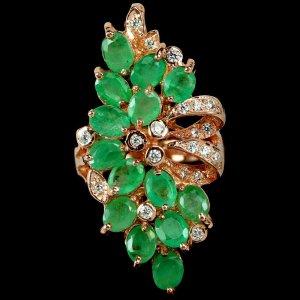 NATÜRLICHER AAA GRÜNER Smaragd OVAL Ring Grosse 55 (17,5)
