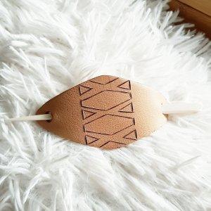 Natur Leder Haarspange Haarklemme  mit Holzstab, 14cm