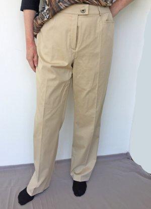 Basler Drainpipe Trousers cream-camel cotton