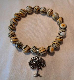 Naturperlen Armband Malachit mit Lebensbaum Glücksbringer Perlenarmband
