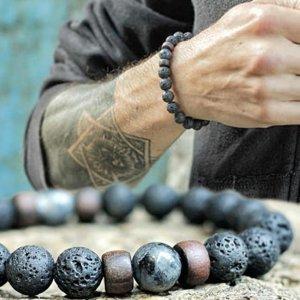 Naturstein Lava Rock Lava Stein Larvikit Armband, unisex schwarz / NEU & OVP