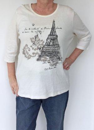 naturweißes T-Shirt von Olsen mit Eiffelturm, Größe 46