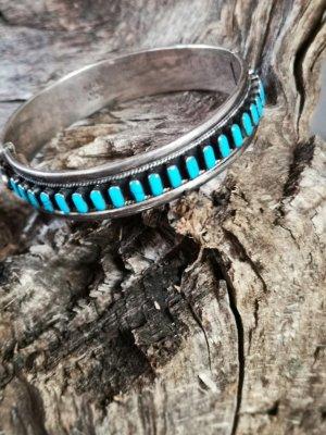 Navajo Zuni Sztywna bransoletka srebrny-baby blue