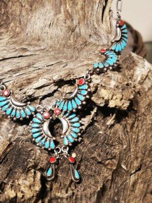 Navajo Zuni Zilveren ketting rood-lichtblauw