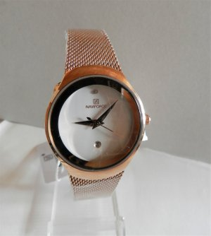 Analog Watch rose-gold-coloured-white metal