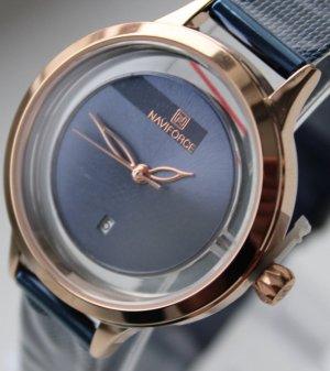 Reloj con pulsera metálica azul-color rosa dorado