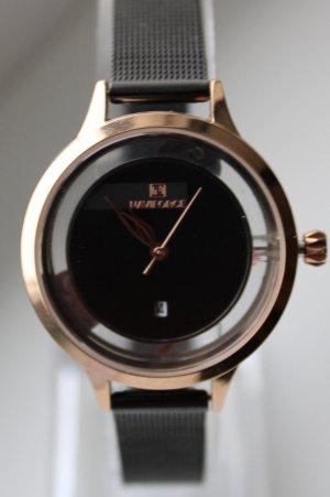 Reloj con pulsera metálica negro-color rosa dorado