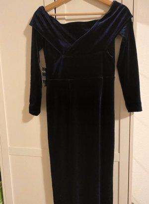 Navy Blue Midi Kleid aus Samt