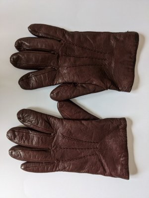 Navy Boot Leather Gloves purple