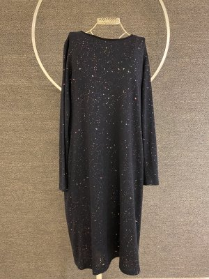 Navy Sweaterdress mit metall-optik Sprenkeln