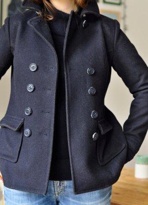 Superdry Marynarski płaszcz ciemnoniebieski-niebieski Wełna