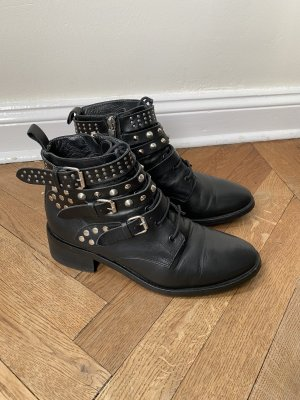 NavyBoot leder biker boots schwarz mit Nieten gr 39