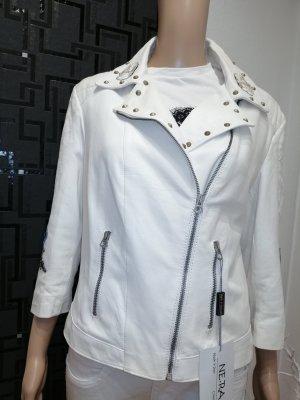 Ne. RA Collezioni Damen Echt Leder Designer Bolero Jacke weiß Gr. 38