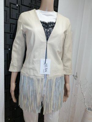 NE. RA Collezioni Damen Echt Leder Designer Jacke mit Fransen Gr. 38