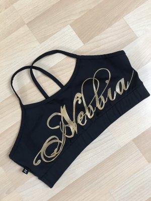 Nebbia Top sportowy czarny-złoto