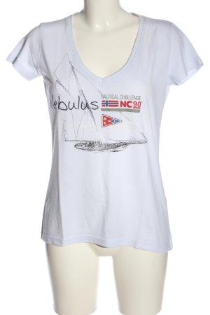 nebulus V-Ausschnitt-Shirt Motivdruck Casual-Look