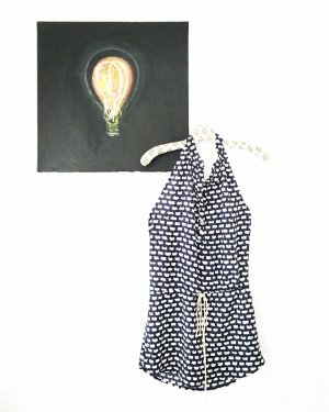 Vintage Sukienka z dekoltem typu halter ciemnoniebieski-biały