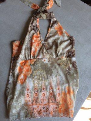 Neckholder, Bluse, tolles Muster und Farben, Gold, braun, Taupe, coral, hinten transparent, vorne gefüttert