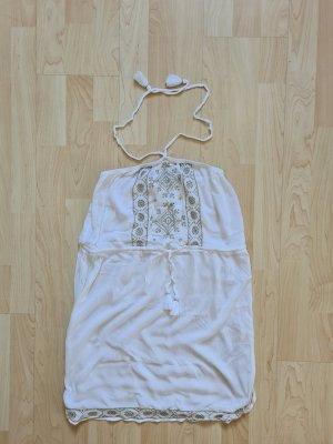 Accessorize Vestido de cuello Halter blanco-color oro